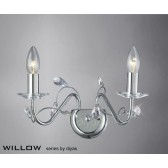 Diyas Willow Wall Lamp 2 Light Polished Chrome/Crystal
