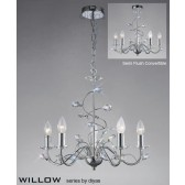 Diyas Willow Pendant 5 Light Polished Chrome/Crystal