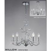 Diyas Willow Pendant 5 Light Polished Chrome/Crystal