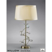 Diyas Willow Table Lamp 1 Light Antique Brass/Crystal