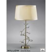 Diyas Willow Table Lamp 1 Light Antique Brass/Crystal