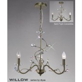 Diyas Willow Pendant 3 Light Antique Brass/Crystal