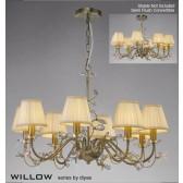 Diyas Willow Pendant 8 Light Antique Brass/Crystal
