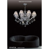 Diyas Zinta Crystal Ceiling 8 Light Chrome