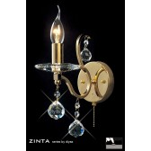 Diyas Zinta Crystal Wall 1 Light Gold Plated