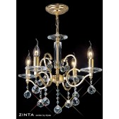 Diyas Zinta Crystal Ceiling 4 Light Gold Plated