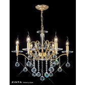Diyas Zinta Crystal Ceiling 6 Light Gold Plated