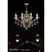 Diyas Zinta Crystal Ceiling 8 Light Gold Plated