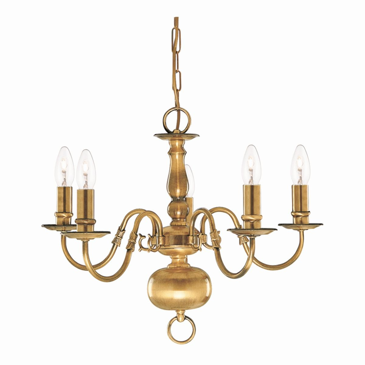 Brass Chandelier Ceiling Lights : Flemish ceiling light arm solid brass