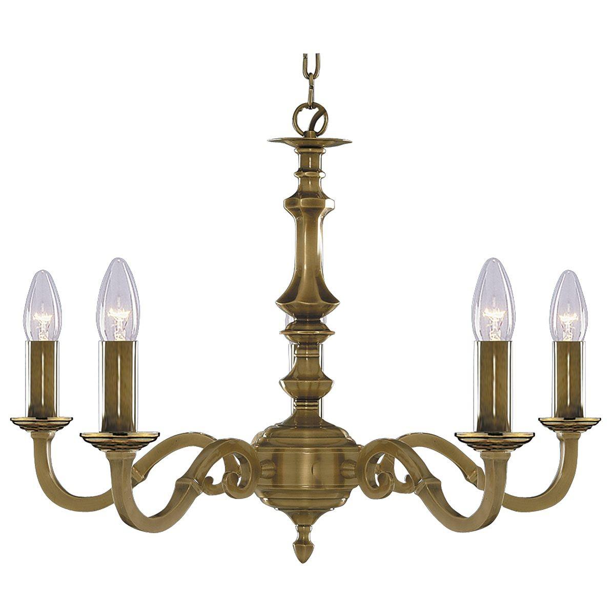 Malaga Ceiling Light 5 Arm Solid Brass