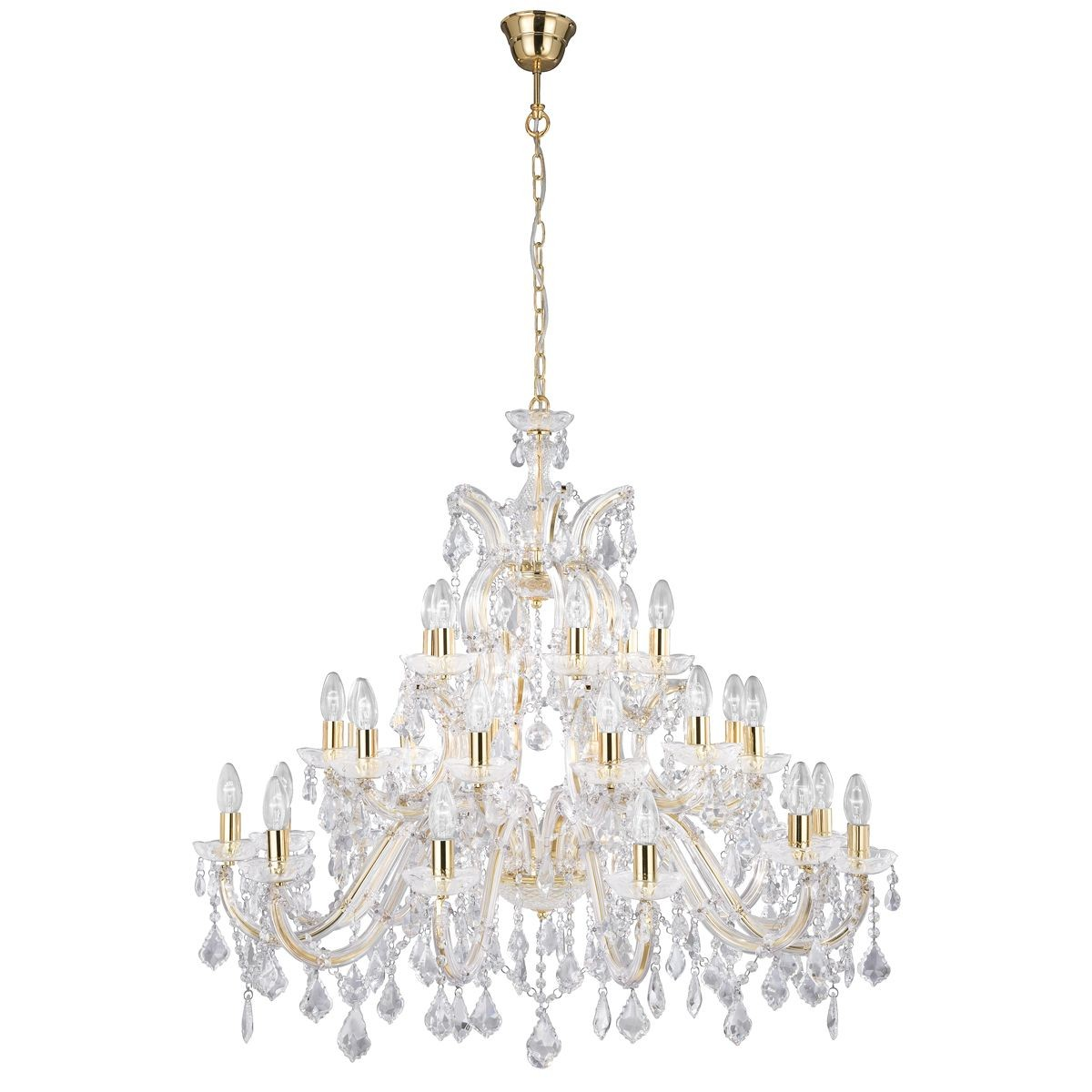 Marie Therese Crystal Chandelier Brass 30