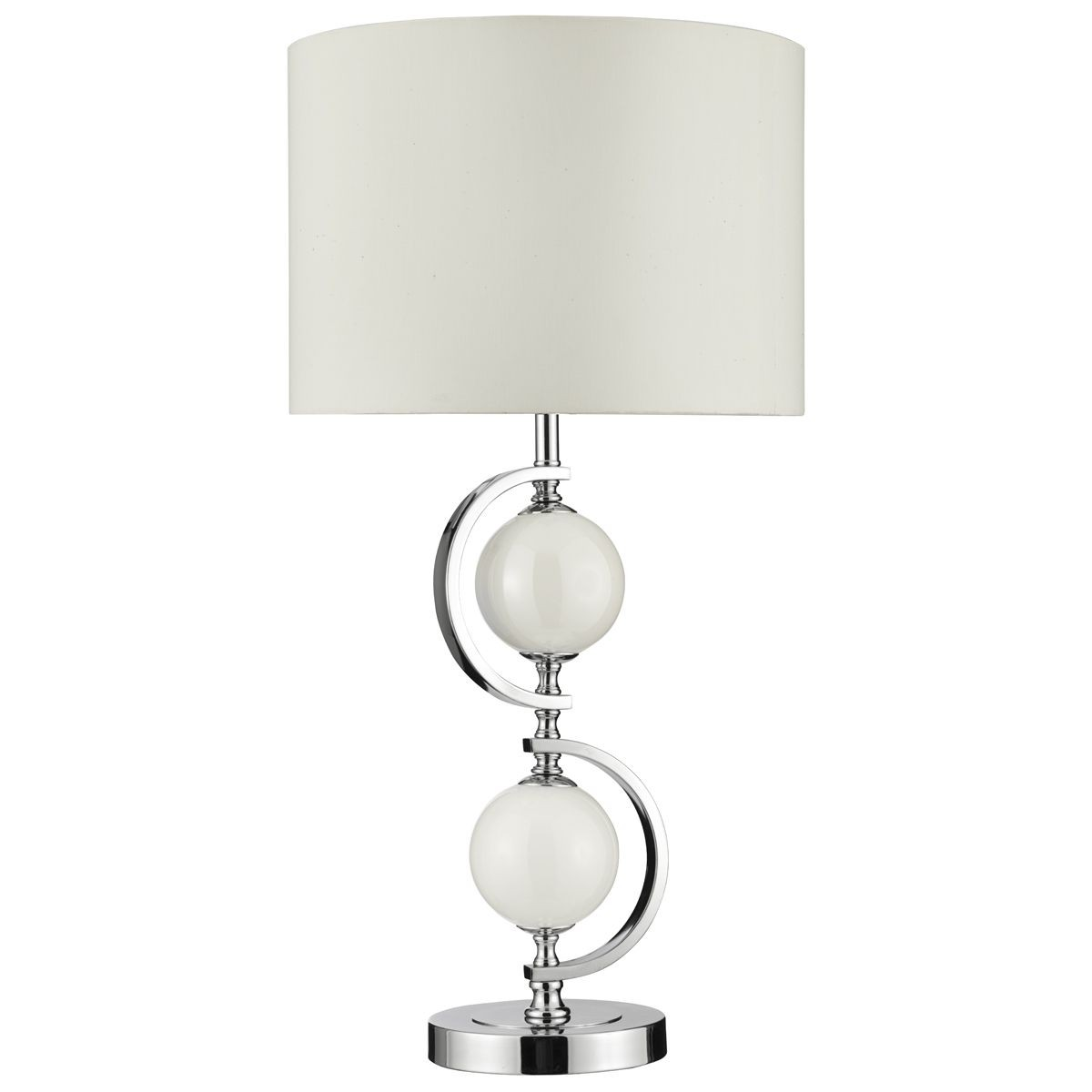 Contemporary Table Lamp Chrome And Glass Complete With Shade