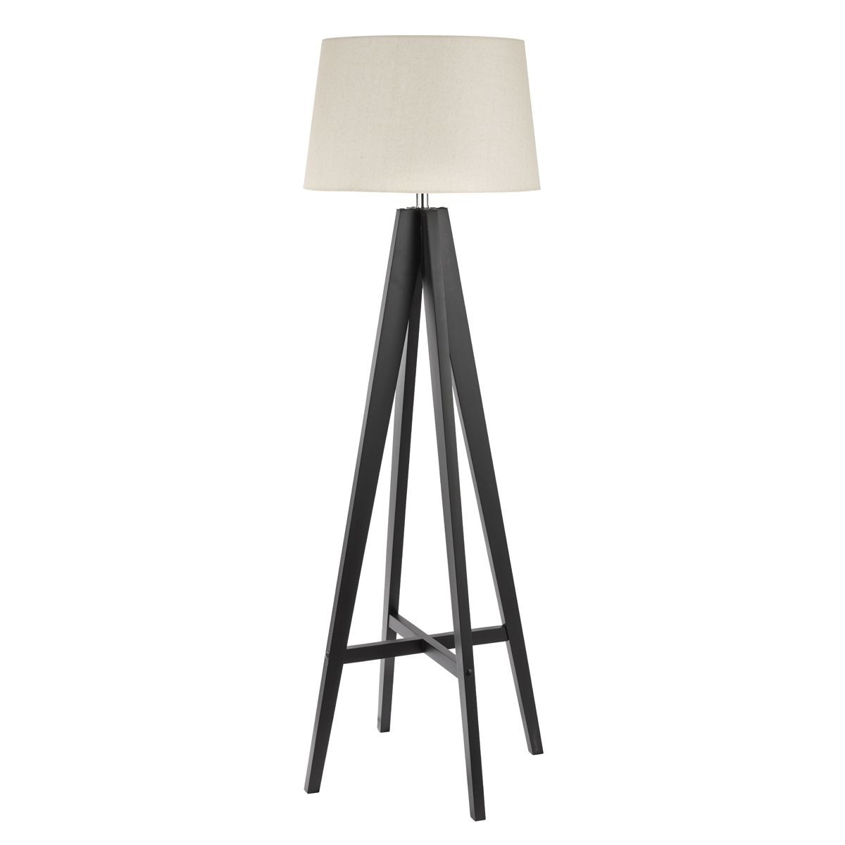 Dark wood floor lamp complete with cream shade Wood floor lamp