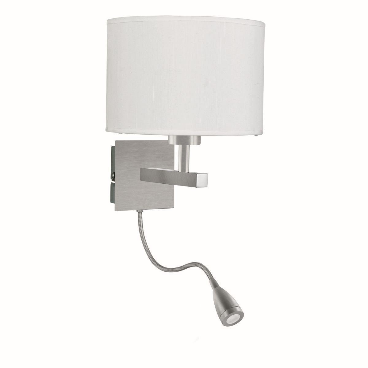 Flexible Led Dual Arm Wall Light Switched Satin Silver