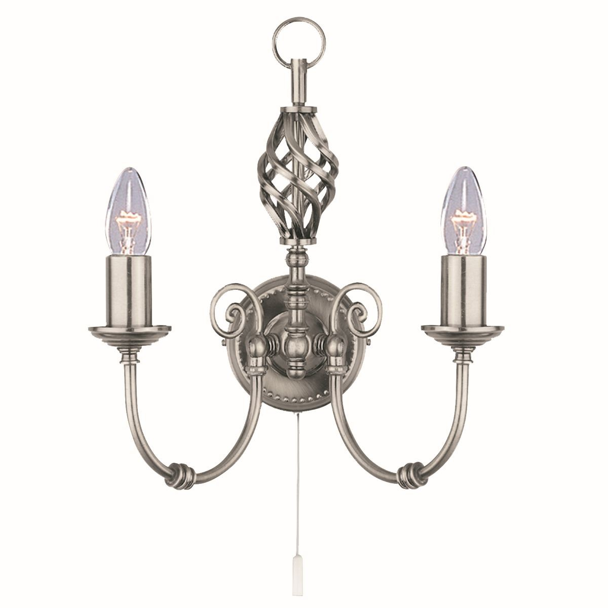 Dark Silver Wall Lights : Zanzibar Wall Light - satin silver 2 light