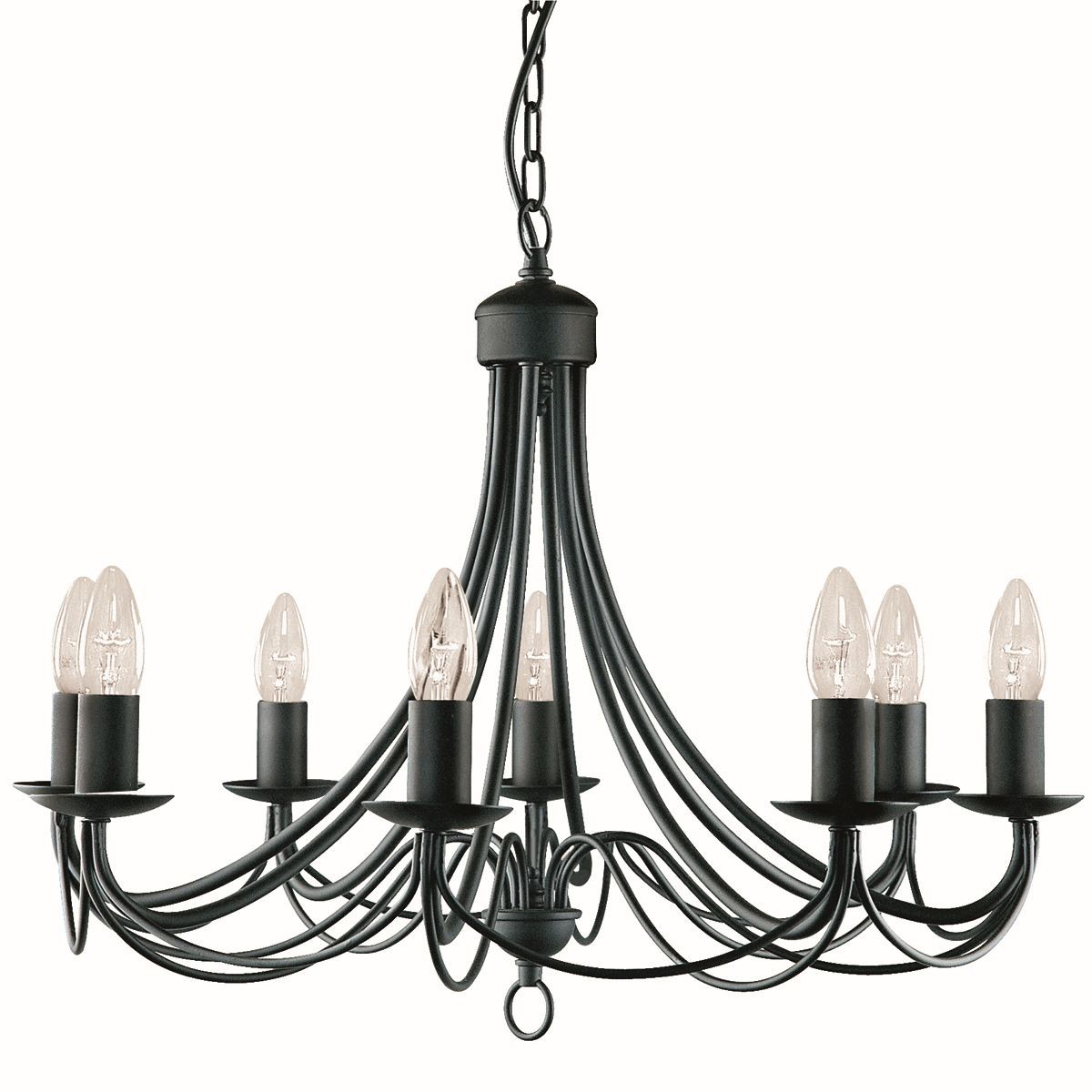 maypole ceiling light 8 arm matt black traditional ceiling lights ceiling lights. Black Bedroom Furniture Sets. Home Design Ideas