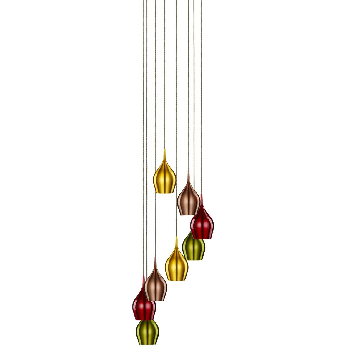 Vibrant Multi Drop Coloured Aluminium Ceiling Light