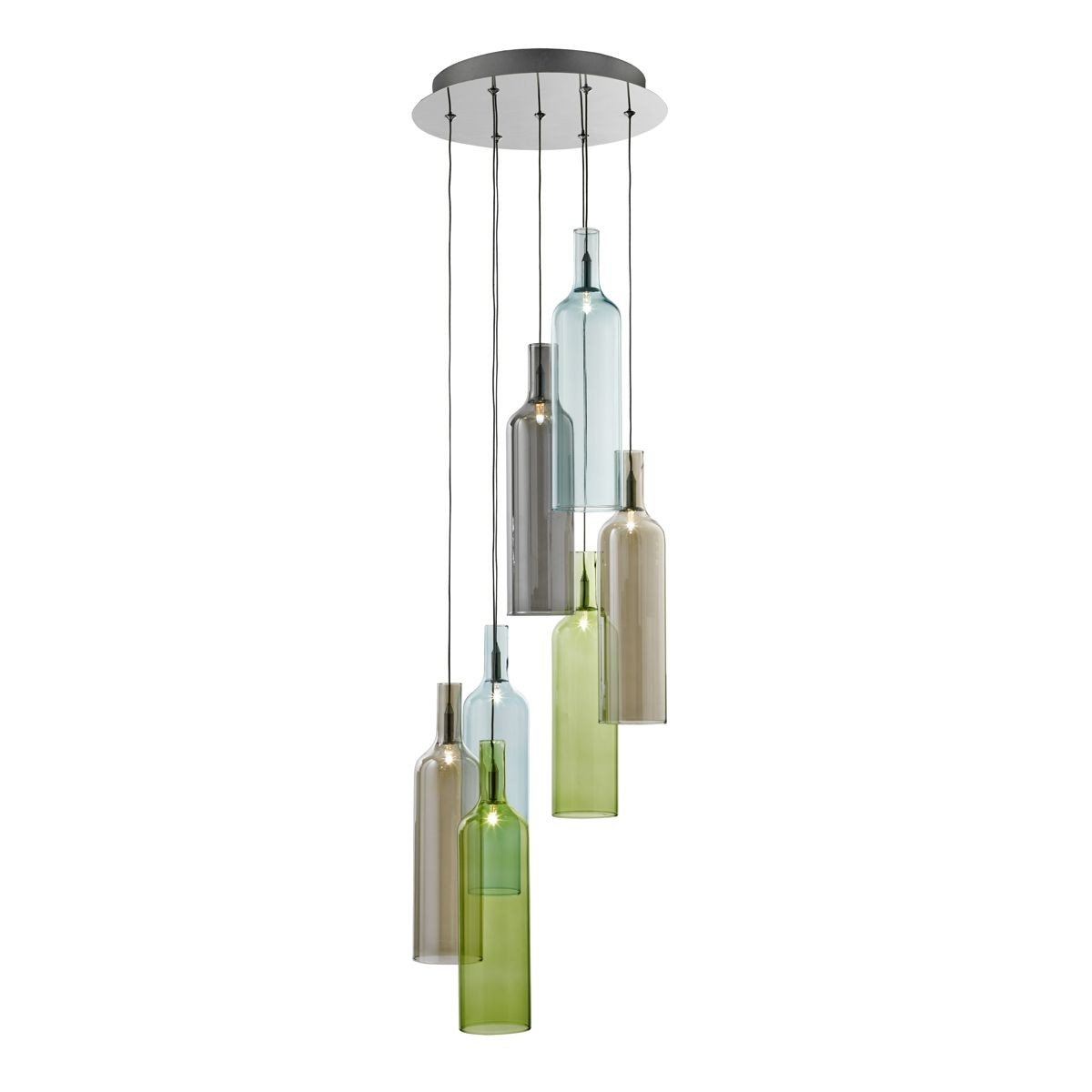 Vibrant Multi-Drop 7 Light Ceiling Light - Chrome with Smoked Coloured Glass