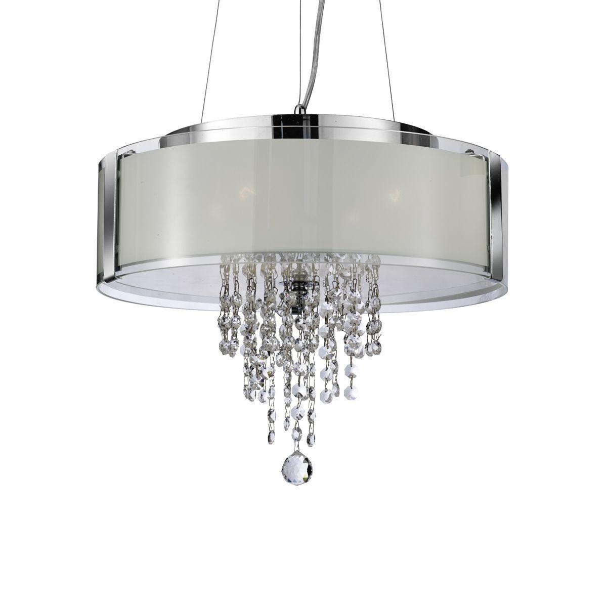 Decorative Crystal Glass Pendant Light - Chrome, with ...