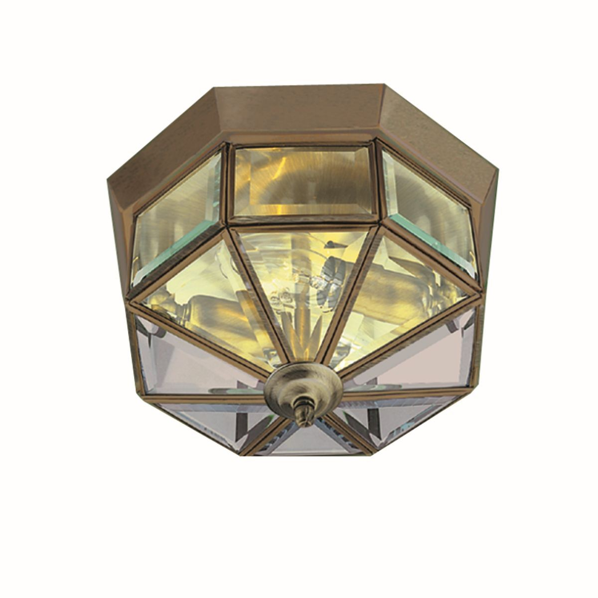 Flush Ceiling Light Brass Octagon