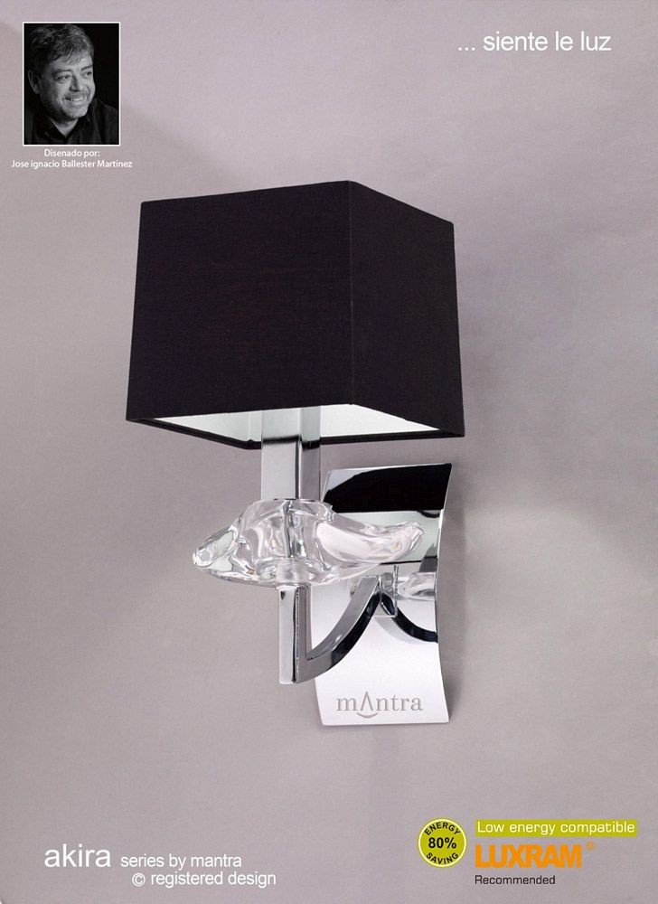Akira Wall 1 Light Polished Chrome With Black Shade - Modern Wall Lights - Wall Lights