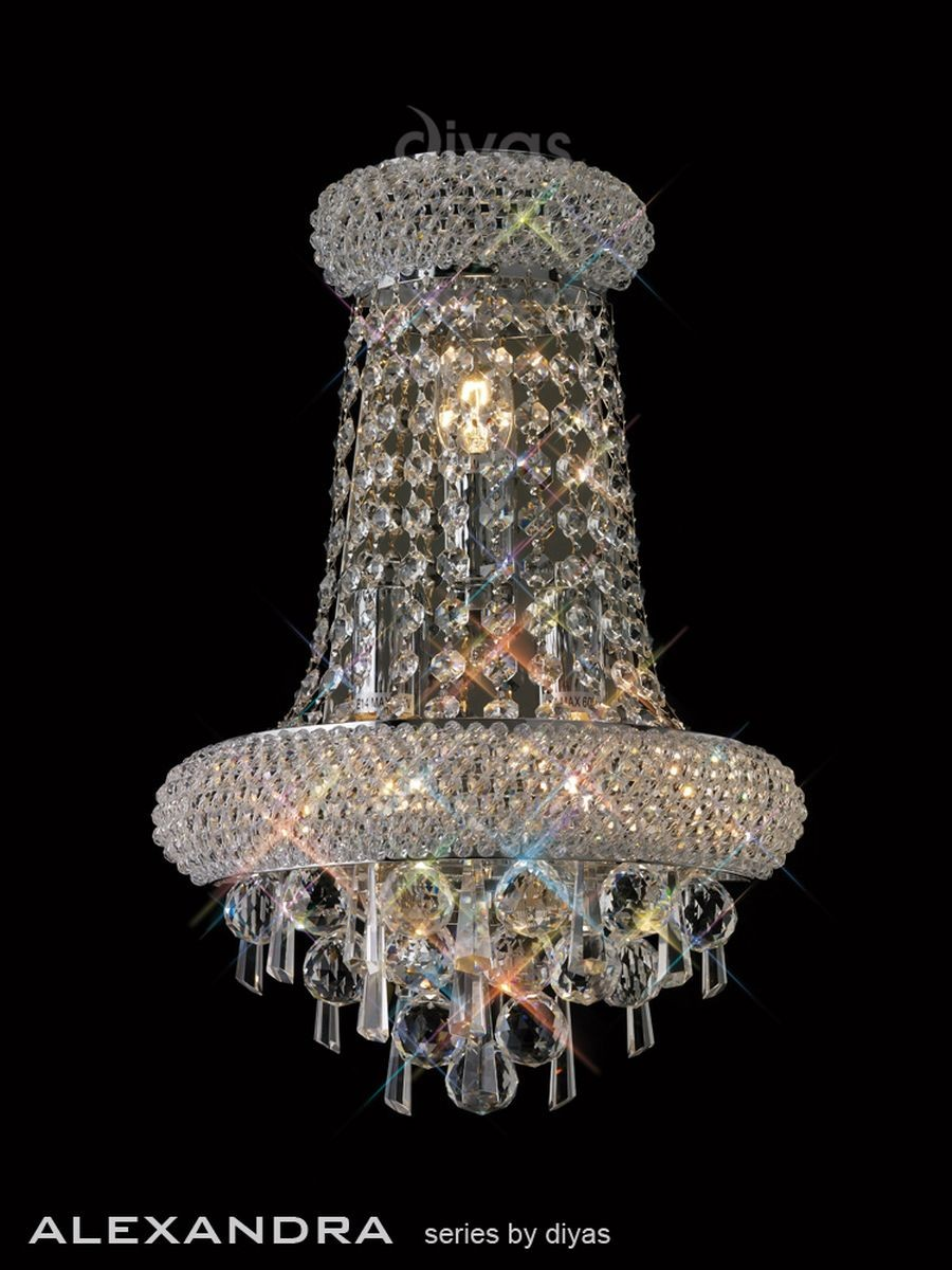 Diyas Alexandra Wall Lamp 3 Light Chrome/Crystal