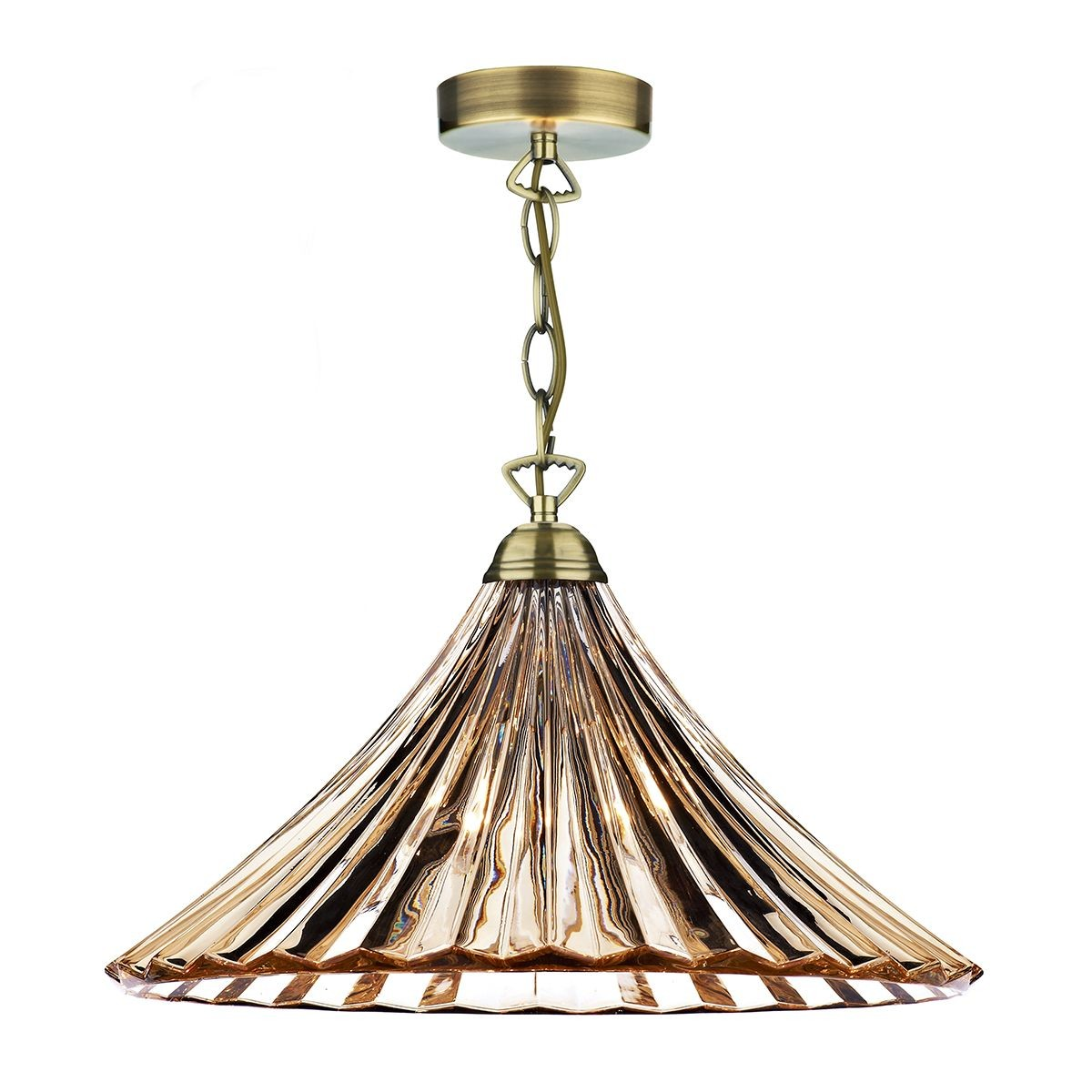 Ardeche 1 Light Large Pendant Light Amber Glass