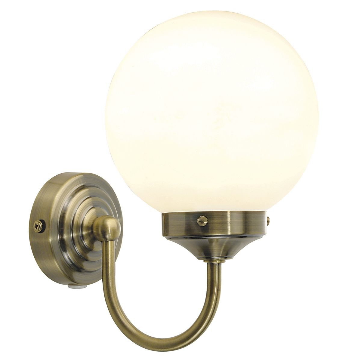 Barclay IP44 Single Wall Light - Antique Brass