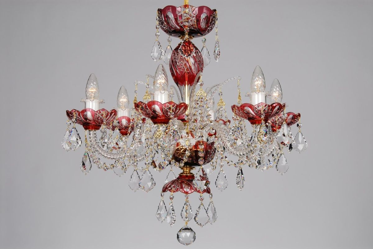Bohemian BCCSE Red Crystal Chandelier With Swarovski Trimmings - Chandelier crystals red