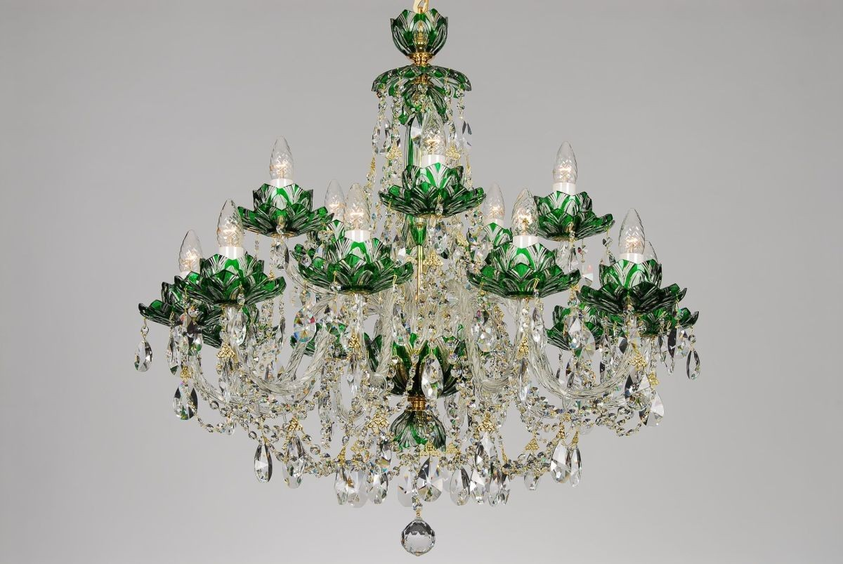 Bohemian bcc15 green crystal chandelier with lotus 15 light aloadofball Images