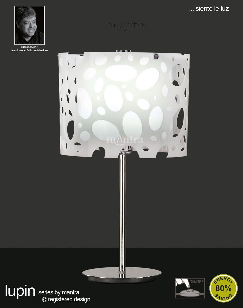 Lupin Table Lamp 1 Light Polished Chrome White