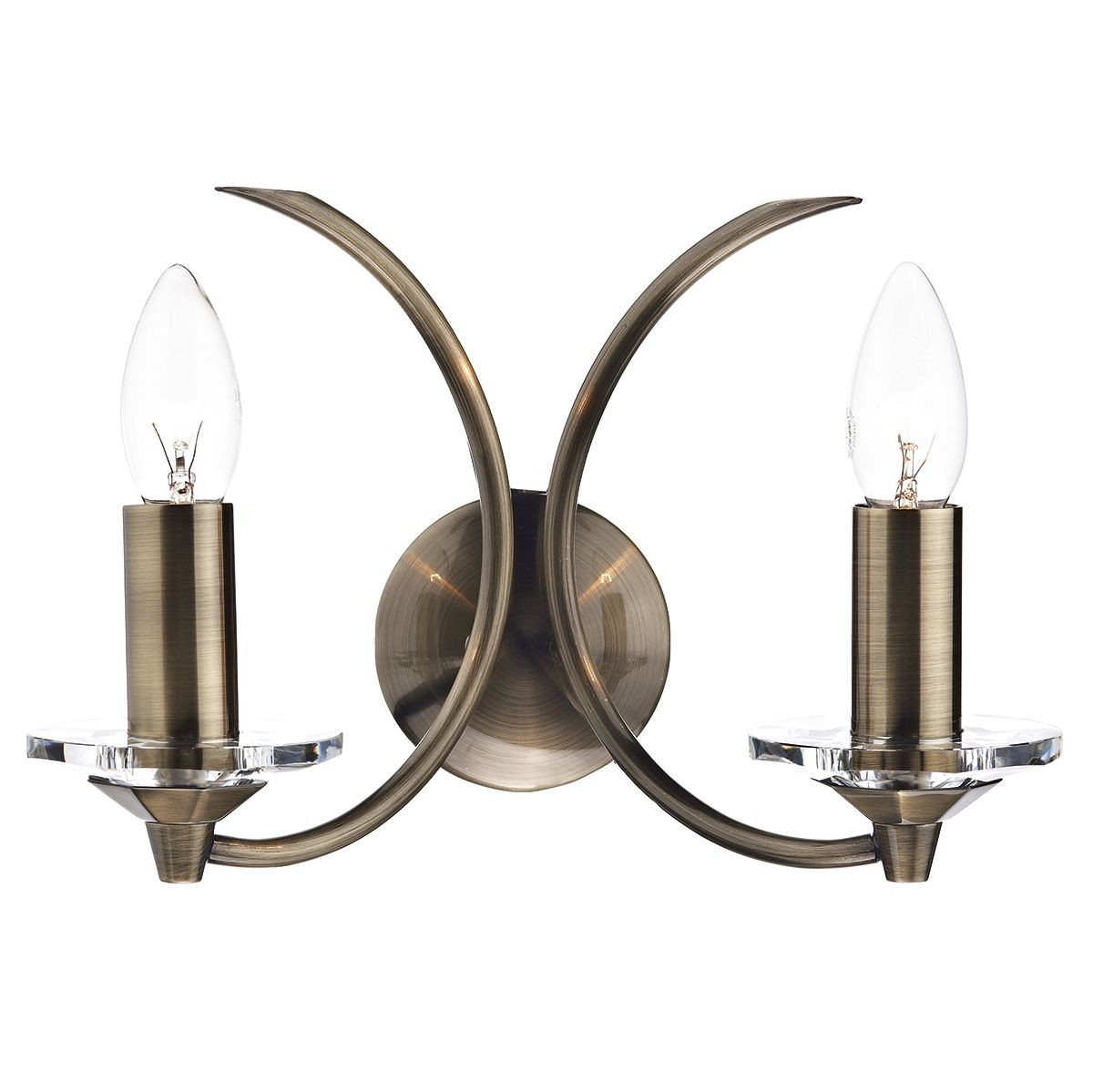 Vintage Wall Lights Double : Medusa Double Wall Light - Antique Brass