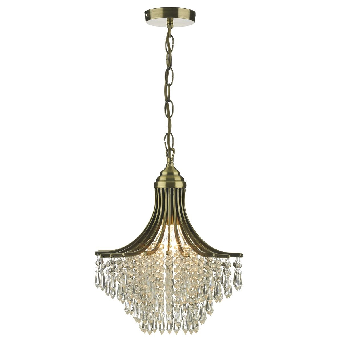 Suri Ceiling Light Crystal Decoration In Antique Brass