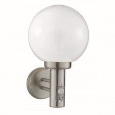 Globe Outdoor Wall Light - Complete With Sensor, Stainless Steel/Polycarb Globe
