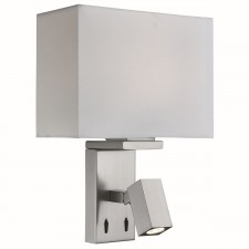 Adjustable Wall 1 Light/Rectangle Arm Led Reading Light, Satin Silver, White Fabric Shade