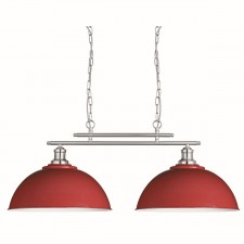 Fusion 2 Light Ceiling Bar, Satin Silver, Red Metal Shades