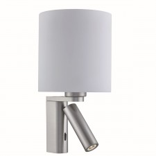 Adjustable Wall 1 Light/Cylinder Arm Led Reading Light, Satin Silver, White Glass Shade
