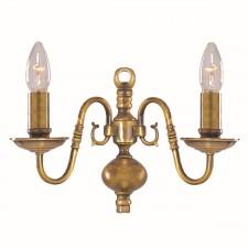 Flemish Wall Light - Dual Light- Solid Brass