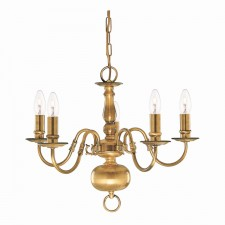Flemish Ceiling Light - 5 Arm Solid Brass