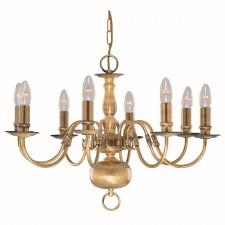 Flemish Ceiling Light - 8 Arm Solid Brass