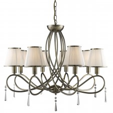Simplicity Ceiling Light - 8 Light, Antique Brass, Complete with Shades