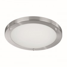 Flush Bathroom Light - Satin Silver & Opal