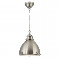 Single Dome Pendant Light - Satin Silver, Glass Inner