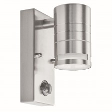 Outdoor & Porch Pir 1 Light Cylinder Downlight Wall Bracket - Stainless Steel