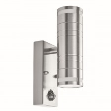 Outdoor & Porch Pir 2 Light Cylinder Downlight Wall Bracket - Stainless Steel