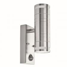 Outdoor & Porch Pir 2 Light Cylinder Downlight Wall Bracket - Stainless Steel