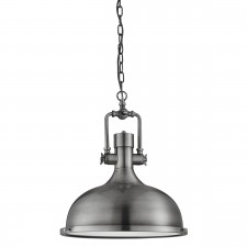 Industrial Pendant - 1 Light Antique Nickel, Frosted Glass Diffuser
