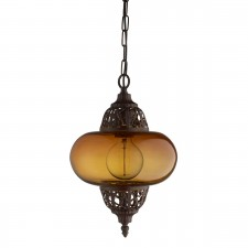 Moroccan 1 Light Arabesque Pendant Antique Copper, Amber Glass Shade