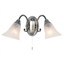 Frosted Opal Glass Wall Light - Silver
