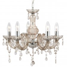 Marie Therese Ceiling Light - 5 Light, Chrome, Mink Glass